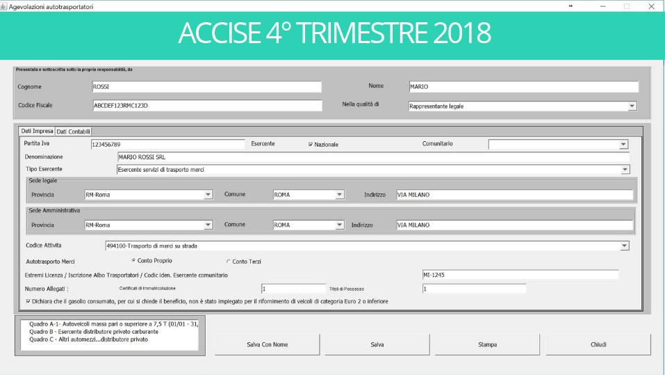 ACCISE 4° TRIMESTRE 2018